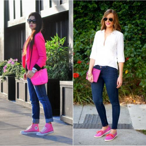 Розовые кроссовки с чем носить. С чем носить розовые кеды