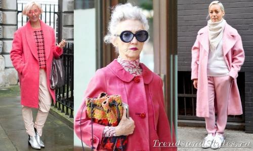 С чем носить грязно розовое пальто. Модное розовое пальто. Кому идет, с чем носить. Фото