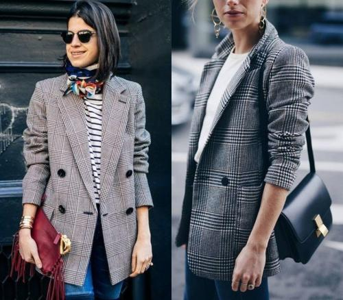 Серый пиджак в клетку женский. Пиджак в клетку - хит 2019 года. Учимся носить и выглядеть женственно