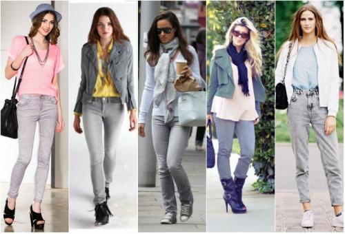 С чем носить серые джинсы. С какими цветами в одежде сочетаются серые джинсы