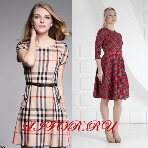 Платье в клетку комбинированное. Красивые фасоны платьев в клетку в деловом стиле