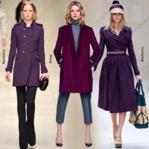 С чем носить фиолетовое пальто