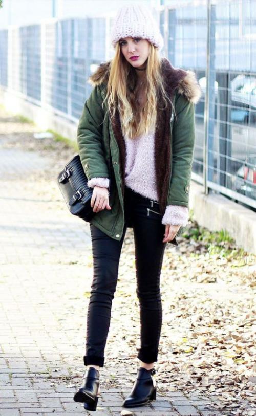 Парки женские зимние. Парки с темными джинсами