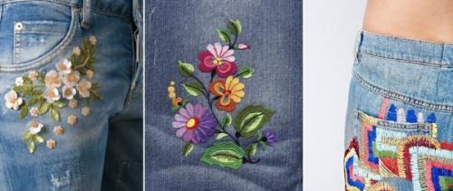 Джинсы с вышивкой цветы. 10 идей, как украсить джинсы вышивкой