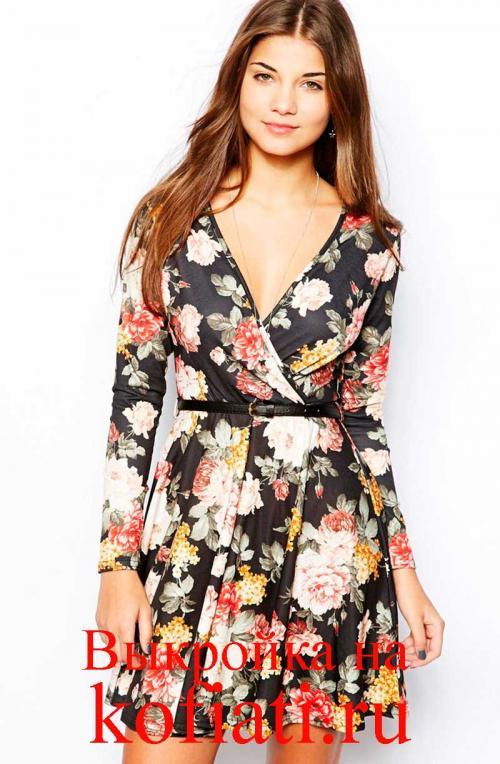 Платье с запахом и воланами. Выкройка платья с запахом