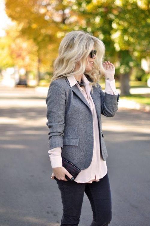 С чем носить пиджак серый женский. С чем носить женский серый пиджак: 13 стильных образов