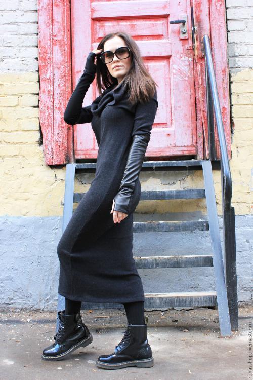 С чем носить длинное шерстяное платье. Какую обувь одеть под длинное платье?