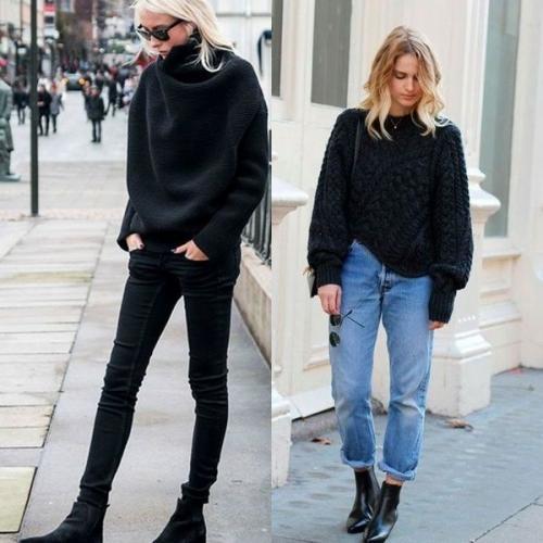 С чем носить черный свитер. Стильные модели свитеров черного цвета на фото