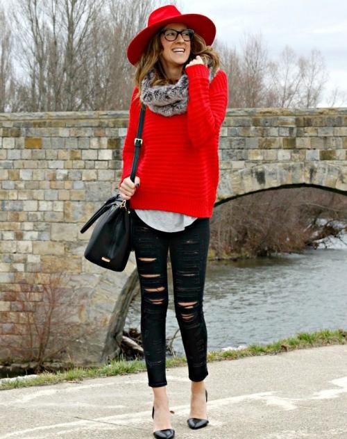 С чем носить укороченный джемпер. С чем носить красный свитер? уютно и дерзко!