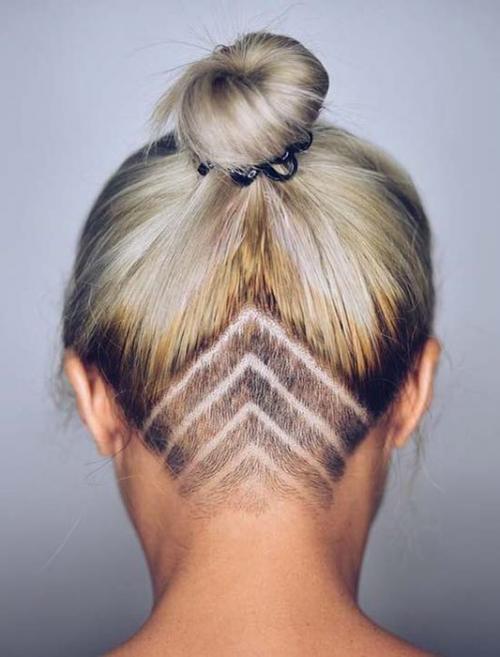 Рисунки на голове для девушек. Выбритые рисунки на голове: 9 оригинальных причёсок для смелых девушек 04