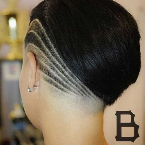 Рисунки на голове для девушек. Выбритые рисунки на голове: 9 оригинальных причёсок для смелых девушек 06