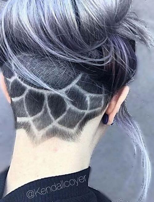 Рисунки на голове для девушек. Выбритые рисунки на голове: 9 оригинальных причёсок для смелых девушек 05