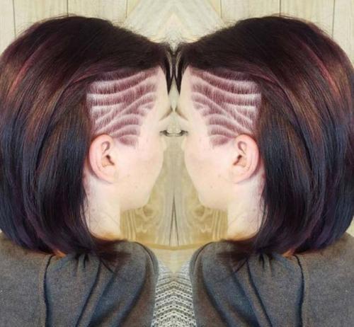 Рисунки на голове для девушек. Выбритые рисунки на голове: 9 оригинальных причёсок для смелых девушек 02
