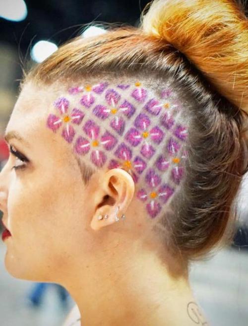 Рисунки на голове для девушек. Выбритые рисунки на голове: 9 оригинальных причёсок для смелых девушек 03